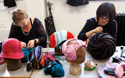 Teaching a millinery course at London College of Fashion