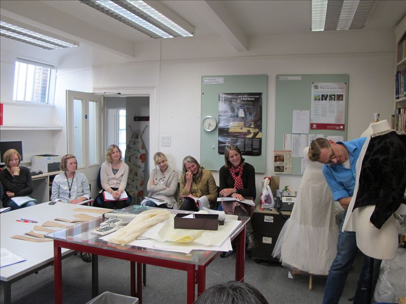 Lecturing at the dress conservation department Hampton Court Palace