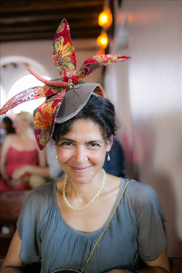 Metallic lace dragonfly on velvet leaf headpiece