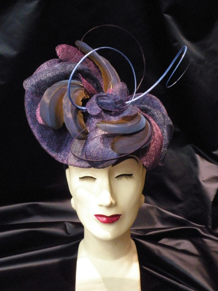 Thomas von Nordheim - Headpiece in blue and purple sinamay and antique parrot feathers