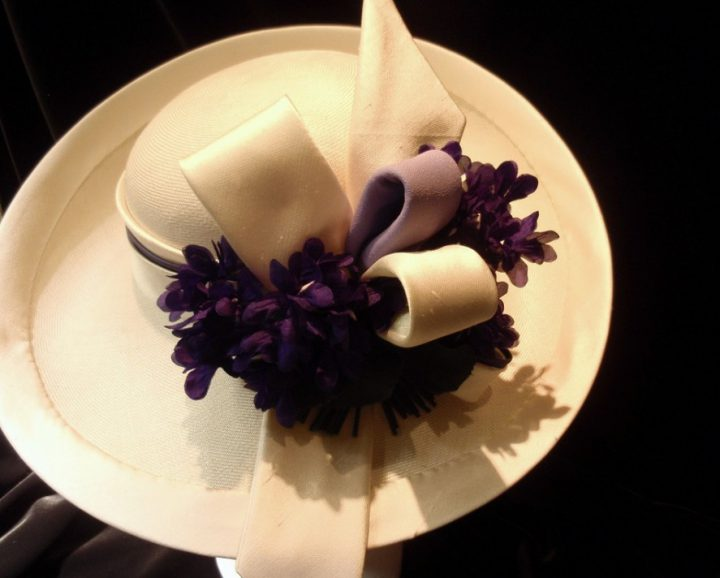 Thomas von Nordheim - Hat in cream paribuntal straw, trimmed with silk and violets