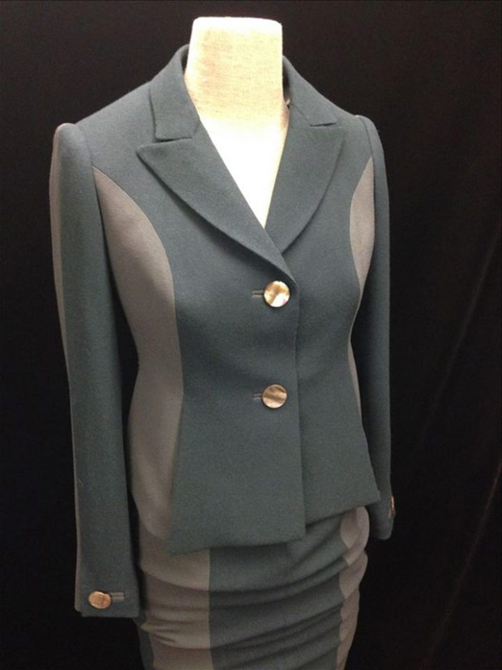 Suit in two shades of green wool crepe
