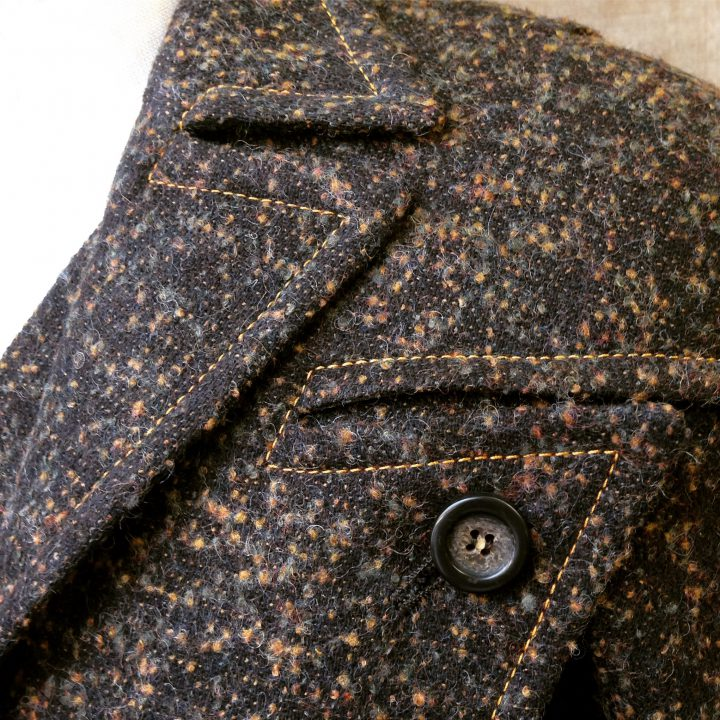 Recreation of a John Cavanagh inspired bronze brown mottled tweed suit