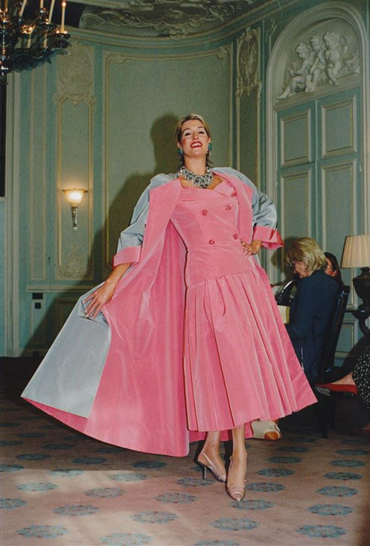 Dress and coat ensemble in sunset pink and silver grey silk taffeta