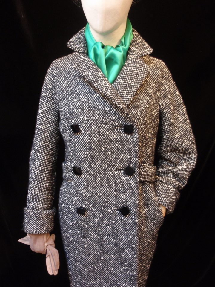 Coat in chunky salt & pepper tweed