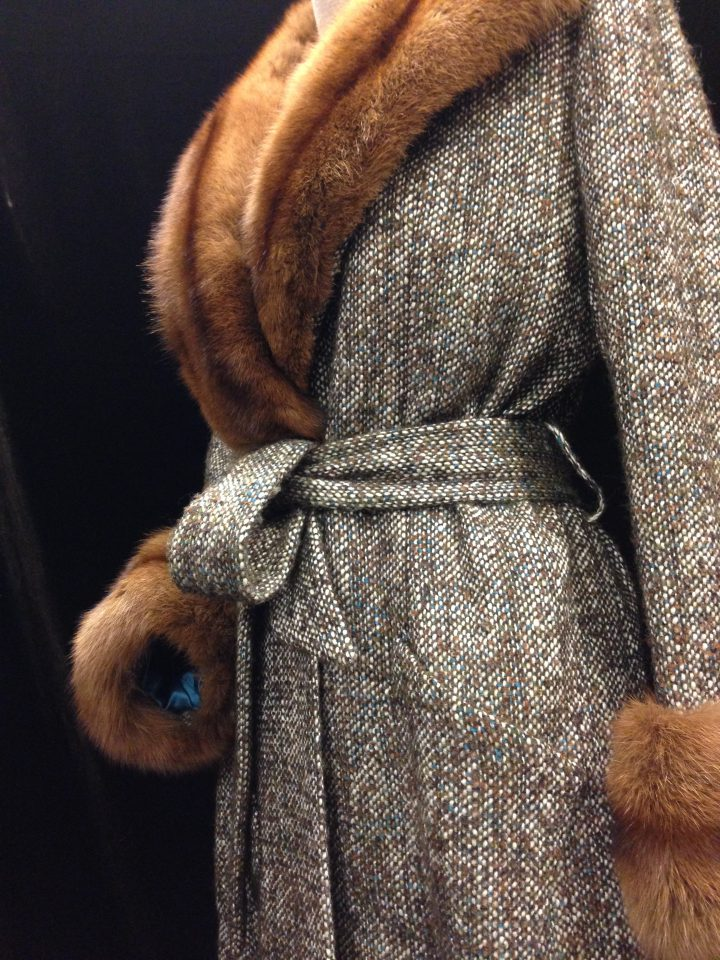 Coat in handwoven tweed with Russian sable trimming