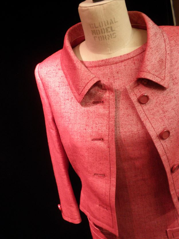 Dress and jacket in red silk tweed