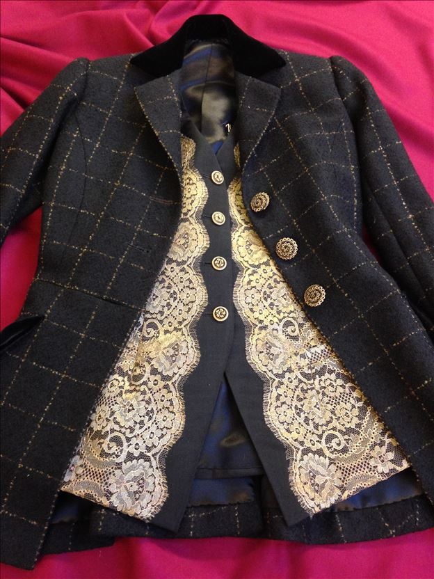Jacket and waistcoat in wool and metallic lace