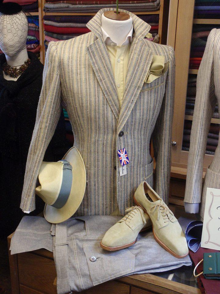 Thomas von Nordheim – - jacket in blue, grey and yellow raw silk stripe