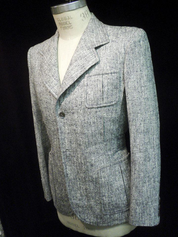 Thomas von Nordheim – jacket in navy/cream mottled silk/linen/wool