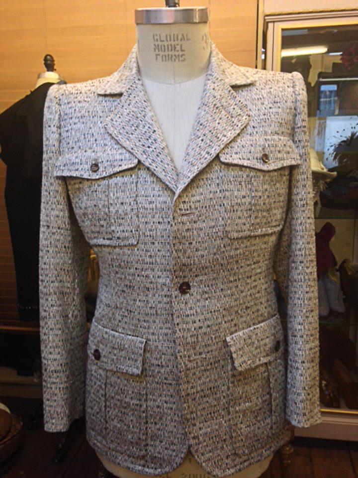 Thomas von Nordheim – Safari jacket in cream/brown fancy linen tweed